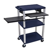 "Offex 24""W 3 Shelf AV Cart with Front and Side Pullout Shelf, Electric, Navy/Nickel (OF-WTPSLP42ZE-N)"