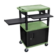 "Offex 24""W 3 Shelf Plastic Multipurpose Utility A/V Cart with Cabinet and Pullout Tray, Green/Black (OF-SLP42GC2E-B)"