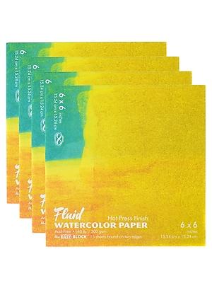 Global Art Fluid Hot Press Watercolor Paper block 6 in. x 6 in., 15 Sheets [Pack of 4](PK4-850066)