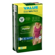 Depend FIT-FLEX Incontinence Underwear for Women, Maximum Absorbency, Small, Tan (47920)