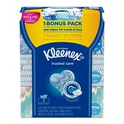Kleenex 2-Ply Everyday Facial Tissues, 160 Tissues per Flat Box, 3 Pack + 24ct. Wet Wipes Bonus (48893)