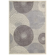 "Nourison Graphic Illusions Acrylic/Polypropylene 5'3"" x 7'5""  Grey Area Rug (GIL04GRY5X7)"
