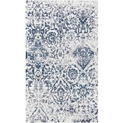 Nourison Damask Polyester/Cotton/Rayon Ivory Navy Area Rug
