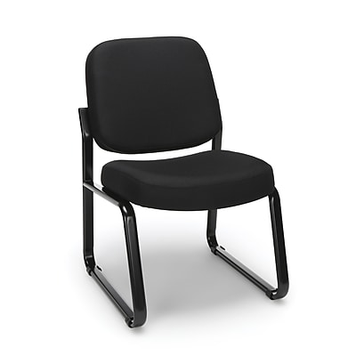 OFM Model 405 Fabric Armless Guest and Reception Chair, Black, (405-805)