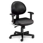 OFM 24 Hour Intensive Use Task Chair with Adjustable Arms, Black Anti-Microbial Anti-Bacterial Vinyl (241-VAM-AA-606)