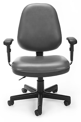 OFM Straton Plastic Computer and Desk Office Chair, Adjustable Arms, Charcoal Gray (119-VAM-AA-604)