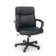 Essentials by OFM ESS-6010 Black Leather Chair, Swivel and Tilt Control, Fixed Loop Padded Arms, Black Frame