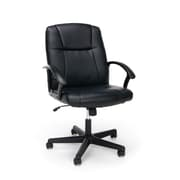 Essentials by OFM ESS-6000 Black Leather Chair, Swivel and Tilt Control, Fixed Loop Arms, Black Frame
