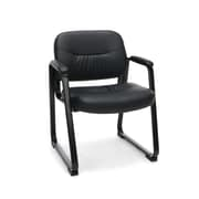 Essentials by OFM Leather Executive Sled Base Side Chair with Padded Arms Black ESS-9015