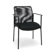 Essentials by OFM Mesh Steel Tube Frame Upholstered Stacking Side Chair with Arms, Black (ESS-8010)