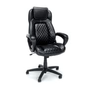 Essentials by OFM Leather High-Back Racing Style Executive Chair, Black, Fixed Arms (ESS-6060)