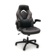 Essentials by OFM Bonded Leather Racing Style Gaming Chair Black/Gray (ESS-3085-GRY)