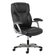 Essentials by OFM High-Back Leather Executive Chair with Flip-Up Arms, Black, (ESS-6030-BLK)
