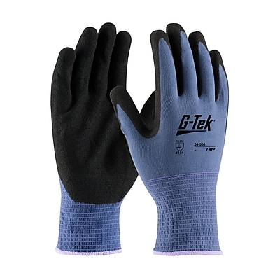 G-Tek® Coated Work Gloves, Active Grip, Seamless Nylon Knit With Nitrile Coating, Large, 12/Pr