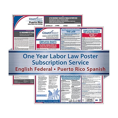 ComplyRight 1 Year State & Fed Poster Service, Puerto Rico--English Fed & Spanish State Posters (U1200CPRS)
