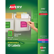 "Avery High-Visibility Removable Multipurpose Laser Labels, 6 Labels Per Sheet, Assorted Neon Colors, 3 1/3""H x 4""W, 72 Labels/Pk"