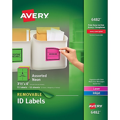 Avery High-Visibility Removable Multipurpose Laser Labels, 6 Labels Per Sheet, Assorted Neon Colors, 3 1/3