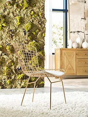 Elle Decor Holly Wire Chair, French Gold, Set of 2 (CHRHLYGLDM02)