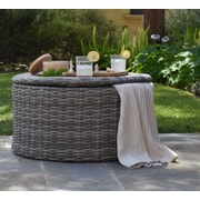 ELLE Decor Vallauris Outdoor Storage Coffee Table, Gray Wicker (DJ16022)