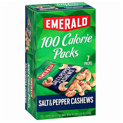 Emerald 100 Calories Packs, Salt and Pepper Cashew, Pack of 7 (SNY33725)