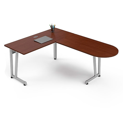 Linea Italia L Shaped Office Desk Cherry