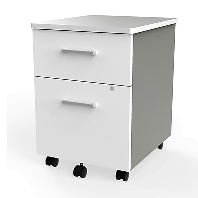 Linea Italia Filing Cabinet, Wood With Metal, White/Silver (ZUS106)