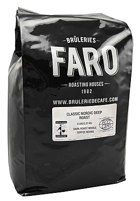 Faro Classic Nordic Fair Trade Certified Whole Coffee Beans, 5 Pound Bag (P-31134)