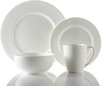 //.staples-3p.com/s7/is/  sc 1 st  Staples & Roscher 32-Piece Hobnail Bone China Dinnerware Microwave and ...