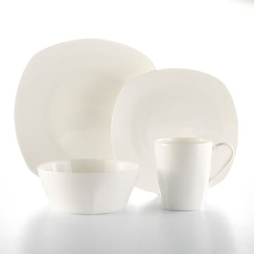 Roscher 32-Piece Kelsey Bone China Dinnerware, Soft Square Shape, Microwave and Dishwasher Safe for Luxury Everyday (81073)