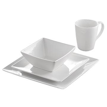 Roscher 32-Piece Pure Square Dinnerware Set - Luxurious & Practical, Microwave & Dishwasher Safe, Contemporary (85330)