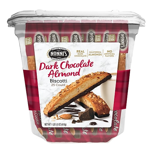 Nonni's Cioccolati Dark Chocolate Almond Biscotti Value Pack, 25 Individually Wrapped Biscotti