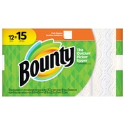 Bounty® Full Sheet Paper Towels, White, 2-Ply, 45 Sheets/Roll, 12 Large Rolls = 15 Regular Rolls (74697/95032)