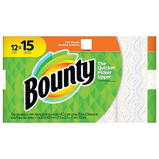 Bounty Full Sheet Paper Towels Giant Rolls: Bounty® 2-Ply Paper Towels 50 Sheets/Roll 12 Roll/Pack