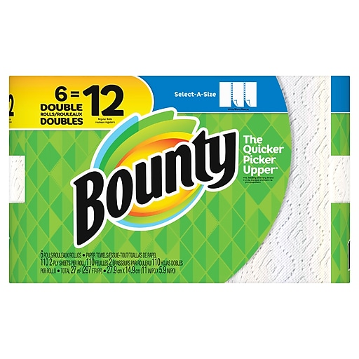 5115aa15270 Bounty Select A Size Paper Towels White 6 Double Rolls 12