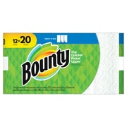 Bounty® Select-A-Size™ Paper Towels, White, 2-Ply, 105 Sheets/Roll, 12 Mega Rolls = 20 Regular Rolls (89074)