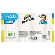 Bounty Essentials Select-A-Size Paper Towel, 2-Ply, White, 104 Sheets/Roll, 12 Rolls/Pack (74647)