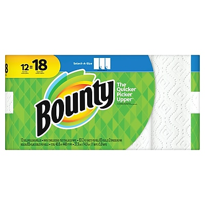 Bounty® Select-A-Size™ Paper Towels, White, 2-Ply, 95 Sheets/Roll, 12 Giant Rolls = 18 Regular Rolls (88212/81440)