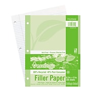 LUX 8 1/2 x 11 Loose Leaf Paper - 3 Hole Punch 10/Pack, White (FP3HCR-W-10)