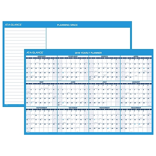 At A Glance 174 Horizontal Erasable Wall Calendar 12 Months