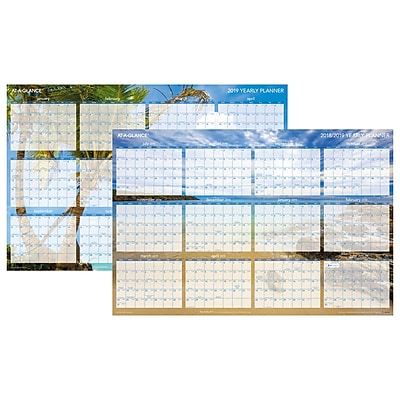 "AT-A-GLANCE® Tropical Escape Horizontal Erasable Wall Planner, 12 Months, Reversible, 24"" x 36"" (DMWTEE-28-19)"