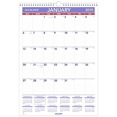 "AT-A-GLANCE® Erasable Monthly Wall Calendar, 12 Months, January Start, 12"" x 17"", Wirebound (PMLM02-28-19)"