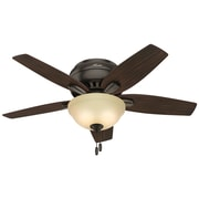 "Hunter Newsome 42"" Low-Profile Ceiling Fan with 5 Blades (Premier Bronze/Walnut)(51081)"
