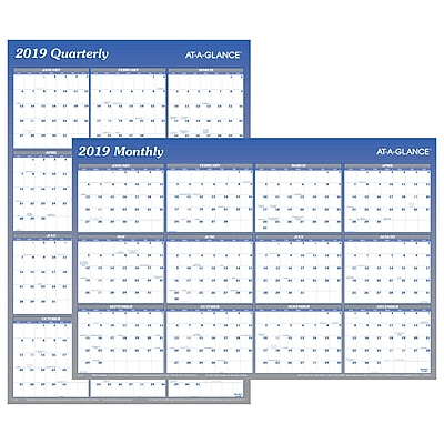 """2019 AT-A-GLANCE® Vertical/Horizontal Erasable Wall Planner, Reversible, 12 Months, January Start, 36"""" x 24"""", Blue (A1102-19)"""