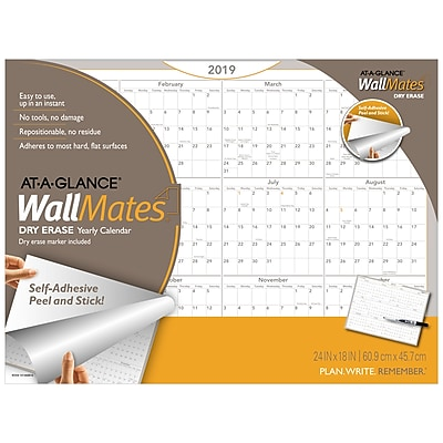 2019 AT-A-GLANCE® WallMates® Self-Adhesive Dry-Erase Yearly Calendar, 12 Months, January Start, 24