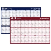 "2019 AT-A-GLANCE® Horizontal Erasable Yearly Wall Planner, Reversible, 12 Months, January Start, 48"" x 32"", Red/Blue (A152-19)"