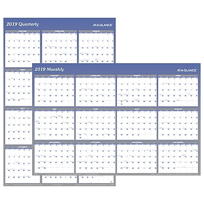 """2019 AT-A-GLANCE® Vertical/Horizontal Erasable Wall Planner, Reversible, 12 Months, January Start, 48"""" x 32"""", Blue (A1152-19)"""