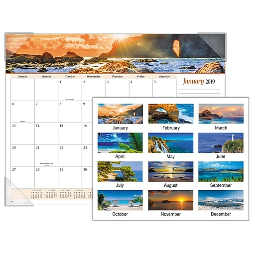 fde798cdce0 2019 AT-A-GLANCE® Seascape Panoramic Monthly Desk Pad