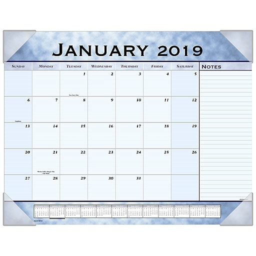 b79c02d59f5 2019 AT-A-GLANCE® Slate Blue Monthly Desk Pad