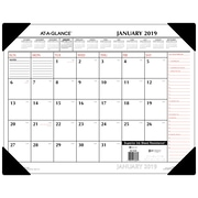 """2019 AT-A-GLANCE® Two-Color Monthly Desk Pad, 12 Months, January Start, 21 3/4"""" x 17"""", Red and Black (SK1170-00-19)"""