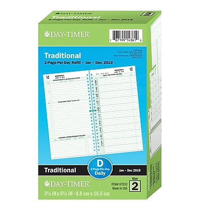 """2019 Day-Timer® Classic Two Page Per Day Refill, 12 Months, January Start, Pocket Size, 3 1/2"""" x 6 1/2"""" (87010-1901)"""